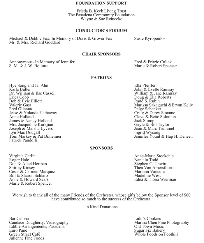 November 4, 2011 Pasadena Community Orchestra Concert Program