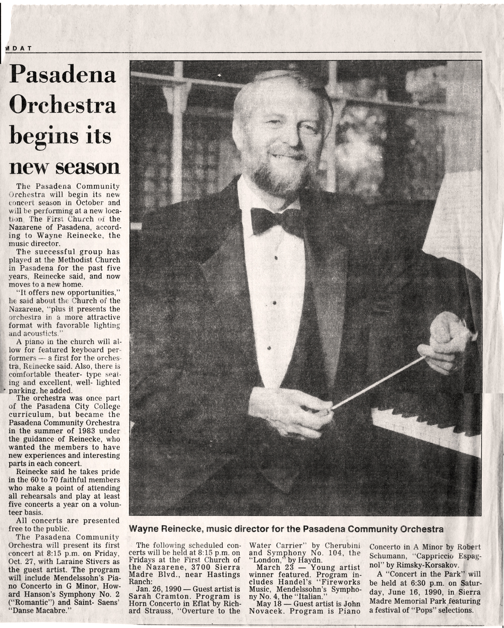 Founder Wayne Reneicke  Begins New Season, January 26, 1990