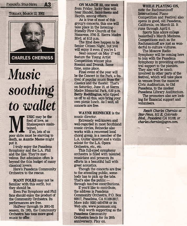 """Music Soothing to the Wallet"", March 12, 2002, Pasadena Start News"