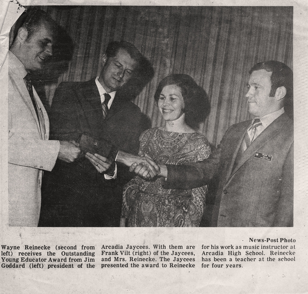 Founder Wayne Reinecke Receives Outstanding Young Educator Award, May 2, 1970