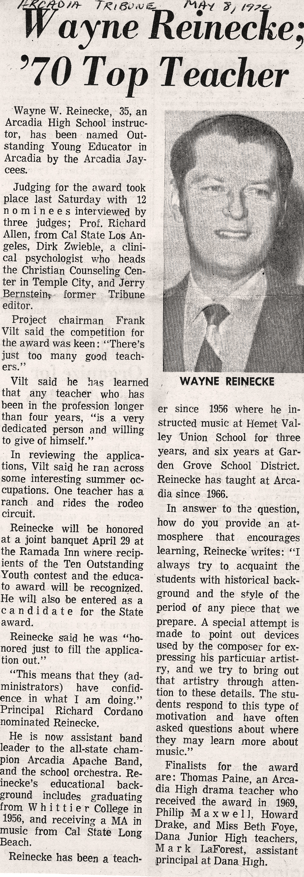 """Wayne Reinecke; 70 Top Teacher"", Arcadia Tribune, May 9, 1970"