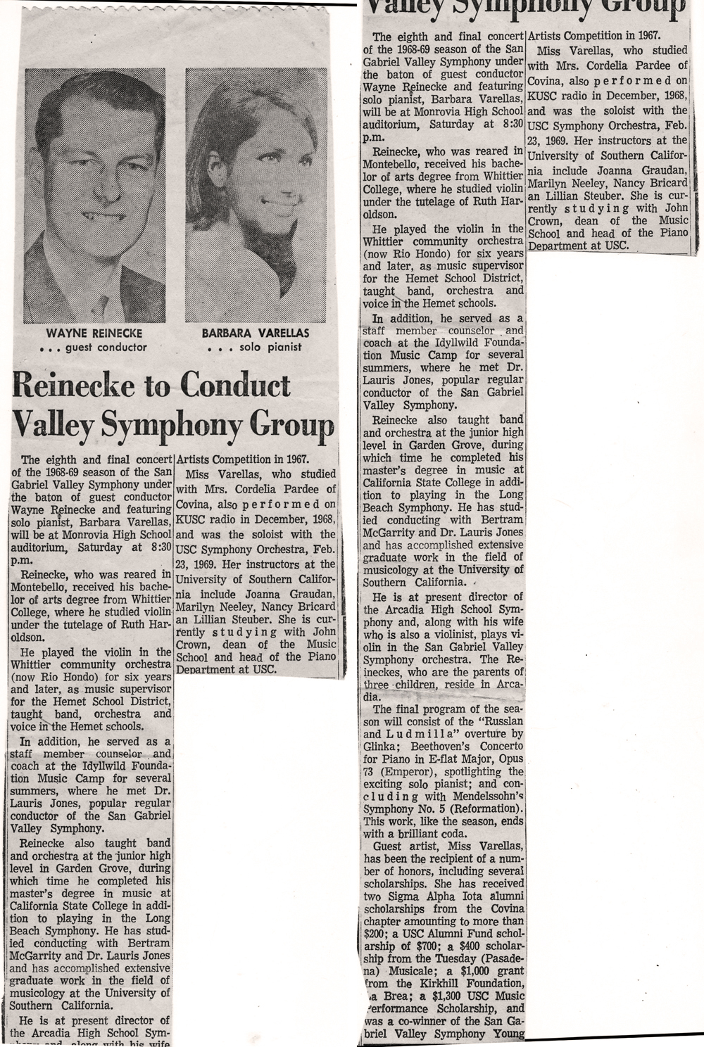 Founder Wayne Reneicke  to Conduct Valley Symphony Group, 1969