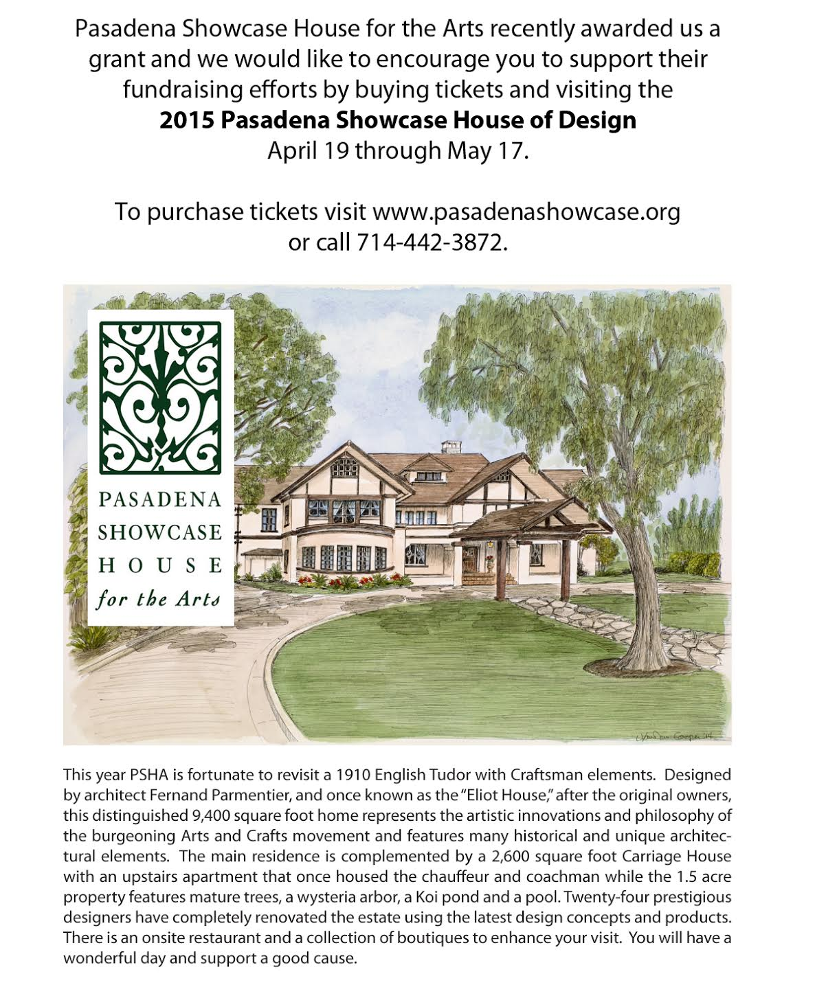 Pasadena Showcase House for the Arts recently awarded the Pasadena Community Orchestra a grant!